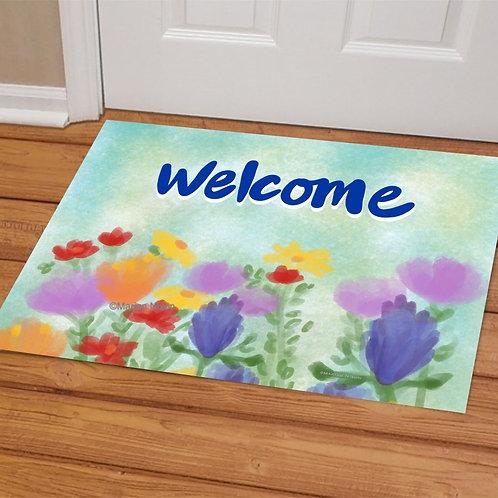 Floral Welcome Mat, Doormat, Porch Decor