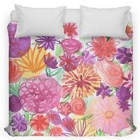 Watercolor Floral Bed Duvet for sale