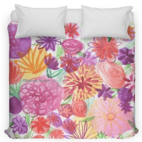 Pink Floral Watercolor Bed Duvet