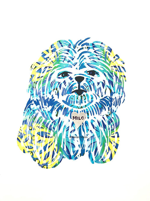 Shih Tzu Dog Art Print, Personalized with Your Dog's Name