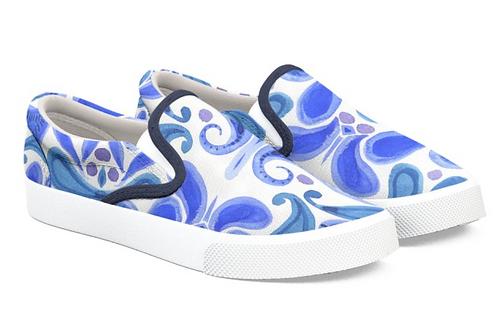 Blue Paisley Art Slip on Sneakers