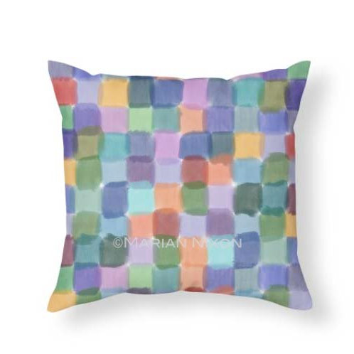Watercolor Squares Throw Pillow,