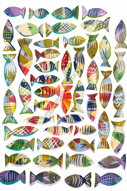 Fish Wall Decals, Tropical Stickers, Kids Room Decor