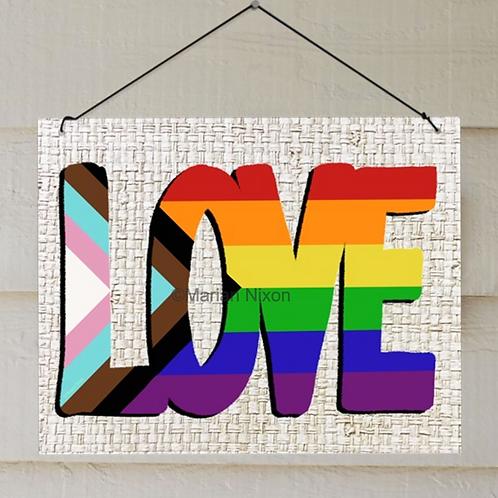 Love Sign, LGBTQ Door Hanger, Indoor Outdoor Decor