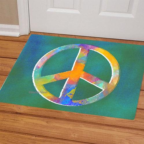 Peace Symbol Welcome Mat, Doormat, Porch Decor
