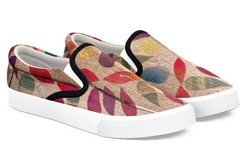 Wood Mandala Design Slip on Sneakers