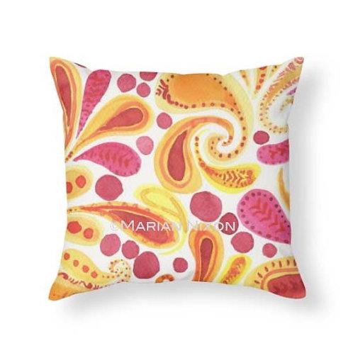 Orange and Yellow Paisley Art Throw Pillow