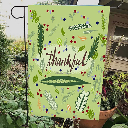 Thankful Garden or House Flag, Thanksgiving Decor