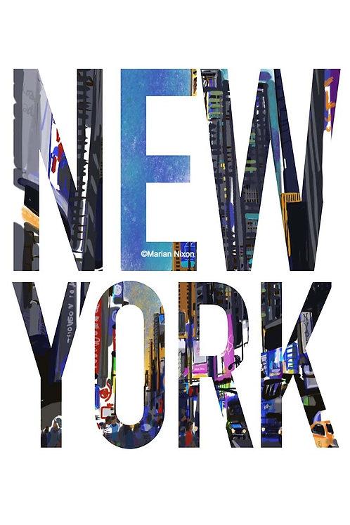 New York City Art Print, Times Square Scene