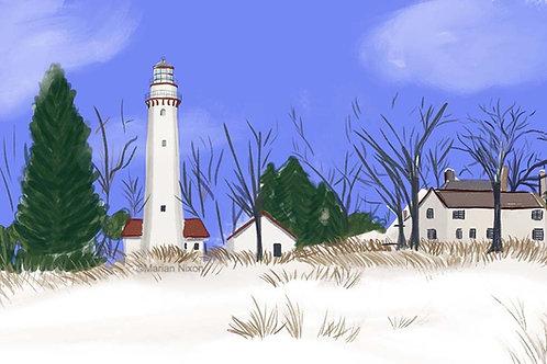 Winter Beach Art Print, Lighthouse Beach, Evanston IL