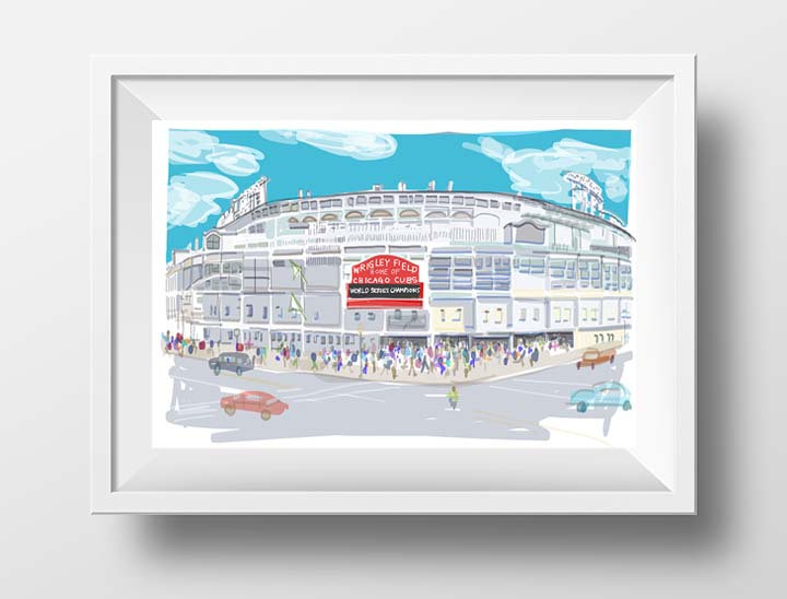 Wrigley Field Art Print, Chicago Cubs Fan Gift, Baseball Decor