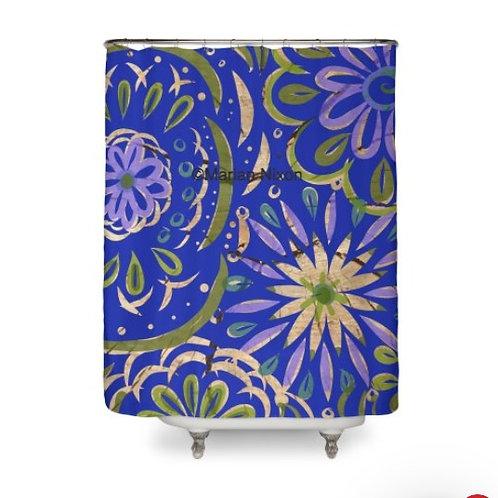 Blue Swirl on Wood Design Shower Curtain