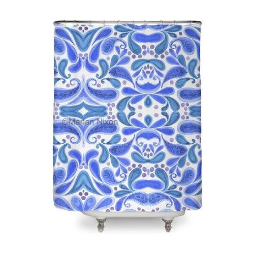 Blue Paisley Art Shower Curtain