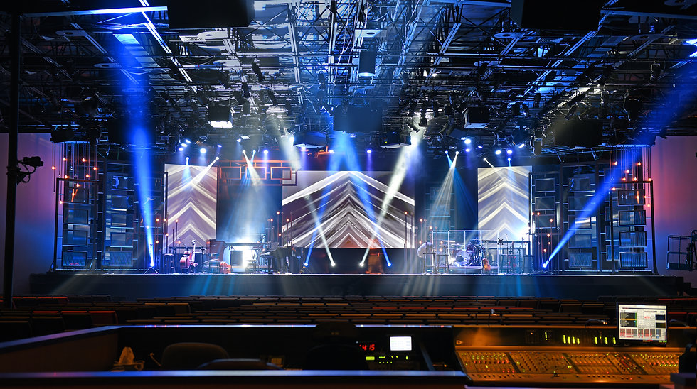 Concert stage with lights and musical in