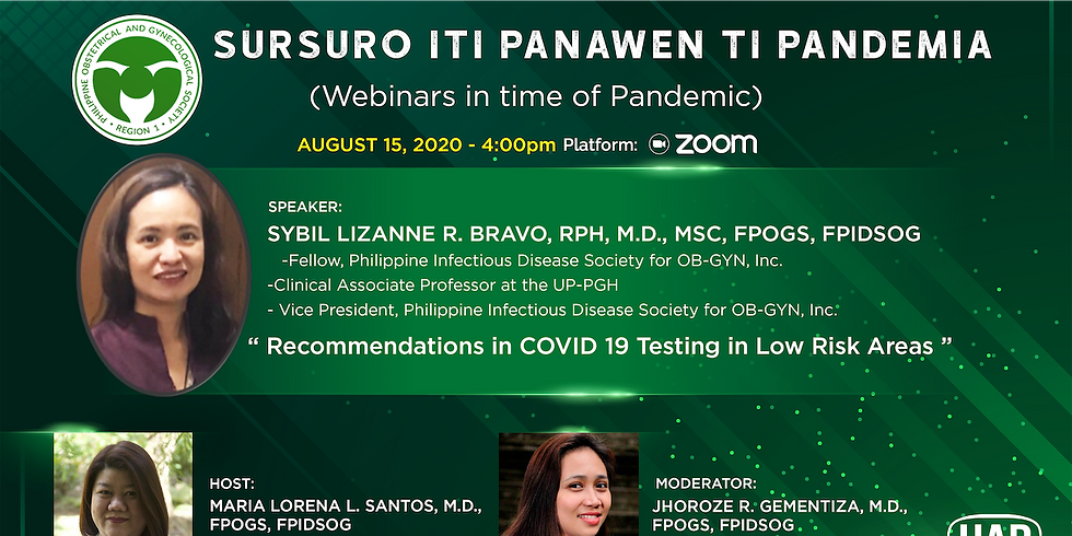Recommendations in COVID 19 Testing in Low Risk Areas | Sursuro iti Panawen ti Pandemia