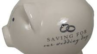 Amore Ivory Piggy Money Box 'Saving for our Wedding Day'