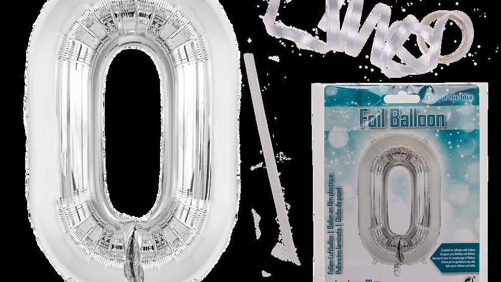 Silver coloured foil balloon
