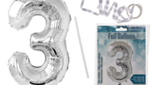 Silver coloured foil balloon