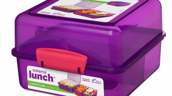 Sistema Lunch Cube, 1.4 L - with contrasting Clips,purple