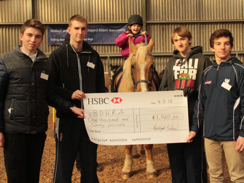 Bedford School's continued support of Bedord and District Handicapped Riders Association
