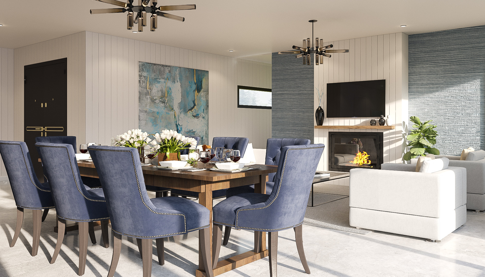 Fielding interior render dining