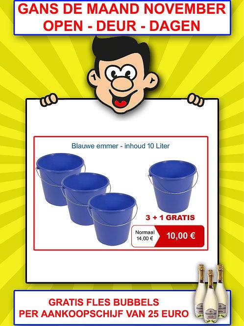 Blauwe emmer - inhoud 10 Liter - 3+1 GRATIS