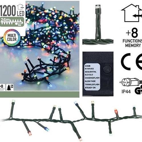Kerstverlichting 24 meter - 1200 LED lampjes - color - binnen en buiten