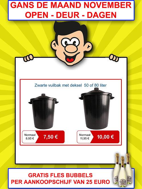 Zwarte vuilbak met deksel 50 liter