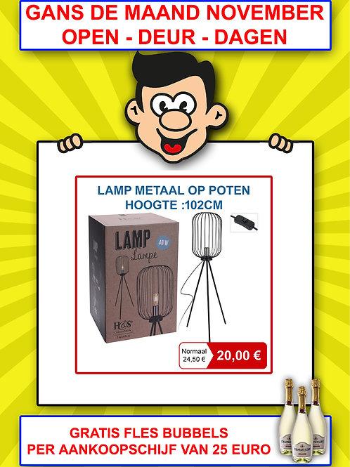 Lamp metaal op poten - hoogte 102 cm
