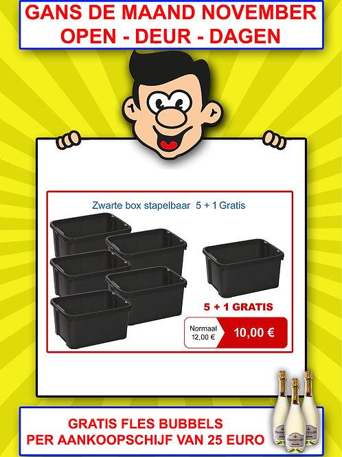 Zwarte box - stapelbaar - 5+1 GRATIS