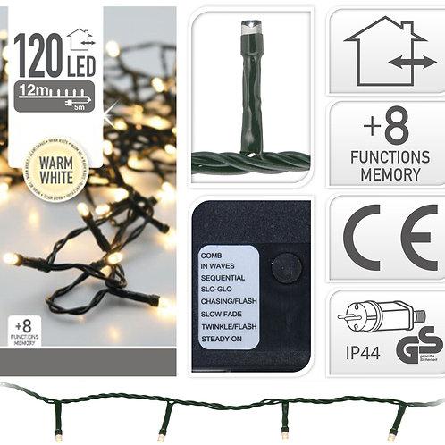 Kerstverlichting 12 meter - 120 LED lampjes - warm white - binnen en buite