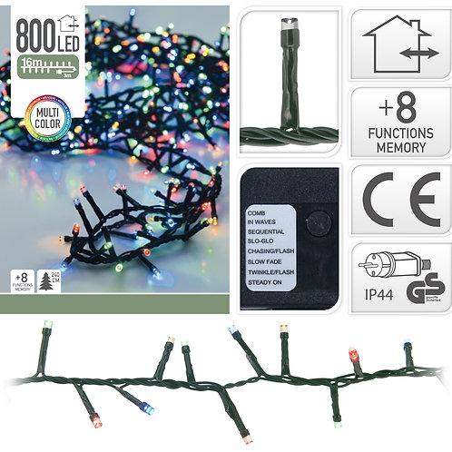 Kerstverlichting 16 meter - 800 LED lampjes - color - binnen en buite
