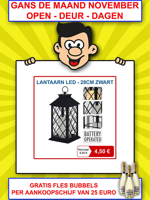 Lantaarn LED - 28 cm zwart