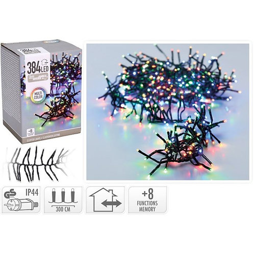 Kerstverlichting 3 meter - 384 cluster LED lampjes - multi color - binnen en b