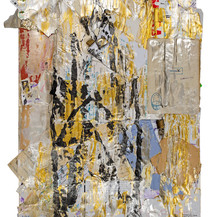 """Maria Silvia Da Re  The cathedrals  《大教堂》 Mixed technique, acrylic on collage   丙烯综合技术 70x53cm 2021  The artistic production of Maria Silvia Da Re (Milan, 1966), ranges from writing to painting. Her artworks exceed the notion of a definite style, if by """"style"""" one means repetition, for she shapes her very technique according to the object, or subject, of her creations. A certain vitality is rather peculiar to her experimental activity. She started her exhibits in Ferrara and in Milan, at Affordable Art Fair, with the encouragement of Francesca Mariotti, in 2014-2015. She then took part in a group exhibition in Milanese Plaumann Art Gallery, promoted by MA-EC Art Gallery; more recently, she took part in the group exhibition """"Duality: is nothing as it appears?"""" organized by the latter, where she showed inter alia the installation """"Happiness in Nations"""" . In Genoa, she took part in various group exhibits and art fairs, such as Biennale di Genova 2017 and ArteGenova 2020, with Satura Art Gallery. An article on her informal works by the critic Andrea Rossetti has just been published in Satura  volume  Profli d'artista - Percorsi di Arte Contemporanea. Her work """"Composizione informale"""" entered the Atlante dell'arte contemporanea (DeAgostini 2020), and will be soon exhibited in the next edition of Triennale di Arti Visive in Rome. The works that Maria Silvia Da Re presently shows here reveal her material inspiration and her effort to save things past. """"Le cattedrali"""" is made of poor materials, nevertheless important to the author, such as the envelopes of Yves Bonnefoy's letters, or the drafts of a translation together with Delfina Provenzali, never printed. """"Gli eventi"""" reminds us at once of the historical meaning of the word """"evento"""", almost forgotten in nowadays Italian language. The cathedrals that each one of us puts up are secret yet insecure gardens, and, in like manner, history begins from loss. Maria Silvia Da Re considers herself an """"aesthetic artifex"""", passionat"""
