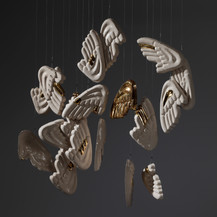 """Riccardo Monachesi Wings 《翅膀》 Installation(Glazed semirefractory clay slabs gold 装置 2019  Born and grown in Rome, Riccardo Monachesi uses clay as medium to make art since 1997. After an apprenticeship with Nino Caruso, in 1980 he graduates in Architecture and realizes that the only interesting design option is to """"design emotions"""".With this approach in mind he begins his work.  In 1980 he starts to expose his works in galleries with an exhibition focused on Baroque in the city of Calcata introduced by Paolo Portoghesi.In 1994 an exhibition at Studio Bocchi, presented by Walter Veltroni, """"clears"""" ceramics as an instrument related to the craftsman's work to bring it back to the artist.  He exposes in 2009 in Wien, at the Italian Institute of Culture; in 2011 the National Gallery of Modern Art (GNAM) acquires 20 ceramics realized with Elisa Montessori, now exposed in the Boncompagni Ludovisi Museum in Rome. In 2014 he realizes a personal show at the """"Museo delle Mura"""" called """"TerraeMota"""" for the City of Rome, presented by Maurizio Calvesi; in 2015 takes part in a collective show at the GNAM. Also in 2015 he realizes a """"site-specific"""" work for the Archeological Museum in Lipari and two works for the Italian Embassy in Santiago de Chile. In 2017 the personal show """"Addendi"""" was dedicated to him by the Museum of Ceramics in Viterbo and Museum of Ceramics in Civita Castellana, presented by Francesco Paolo del Re, presenting both historical and unpublished works.  In 2019 he was invited to exhibit a site-specific work in Rome at Studio Canova, by the furnace where Antonio Canova made the ceramic model of Cupid and Psyche,with a solo-show that recalls the emotion of the important sculptor.  Again in 2019 an important sculpture collective exhibition at the sixteenth-century Cloister of Sant'Alessio all'Aventino with a work created specifically on the mystical experience of the Saint, and another collective exhibition in Naples at the prestigious Museo della Ceramica Duca di Ca"""