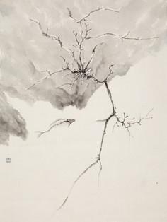 Herbs and wood in vacuum 04 《草木虚空4》 Ink on paper 纸本水墨 45x66cm 2020