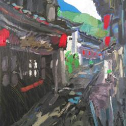 "张灵杰  Lingjie Zhang  Ancient town of Salt Heijing  《千年盐都黑井古镇》 Oil on canvas  布面油画 55x40cm 2020  Born in 1980, in Mile, Yunnan, China.  Obtained diploma at Wenshan Art Institute, in Yunnan in 2002. Graduated in 2004 from Yunnan Fine Arts Academy.  Compares  experiences in western oil painting and those of chinese painting, trying to express oriental feelings with the technique of oil.   1980年生于云南省弥勒县。 2002年云南省文山师范高等专科学校,美术系美术教育专业专科毕业。 2004年云南艺术学院美术学本科毕业。  油画风景和中国山水画,最值得称道的是: 它们都不是上帝的视觉,而是 ""人类爱的目光""。"