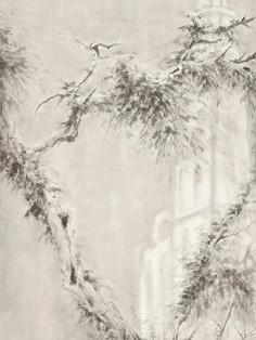 Cloud Church 《云雾教堂 》 Ink on paper 纸本水墨 180x70cm 2021
