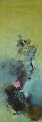 稀碎的挫折感系列  Fragmented Frustration Series 《虚拟世界的混沌荷山水》 The chaotic Lotus landscape in the virtual world 布面油画 Oil on canvas 40x106cm 2020