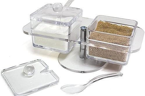 zuccheriera  in acrilico doppia con base