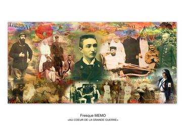 """Fresque MEMO """"AU COEUR DE LA GRANDE GUERRE"""" visible jusqu'en Avril 2019."""