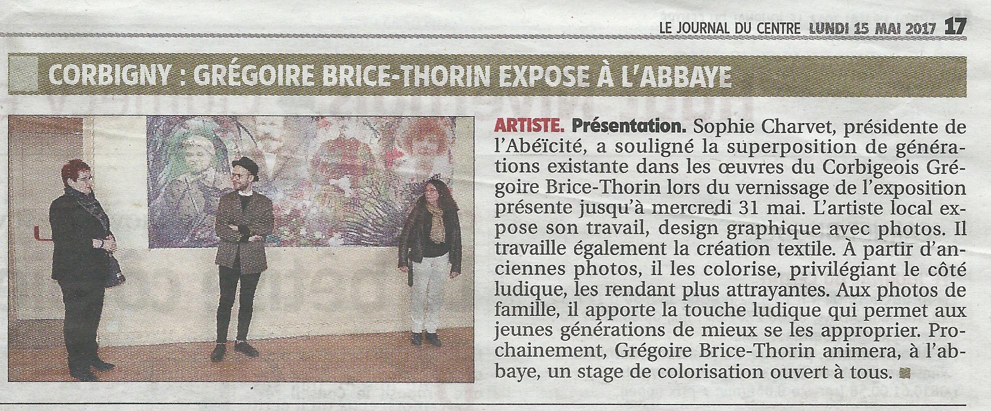 Article journal du centre 15 MAi 2017 Expo MEMO Abbaye Corbigny