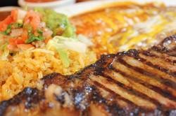 El Jefe-Steak asada with enchilada