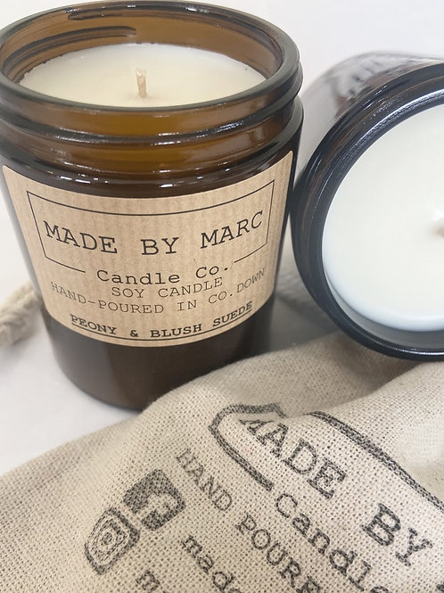 Peony & Blush Suede Single Wick Soy Candle (180ml)