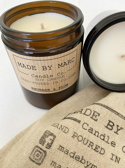 Rhubarb & Plum Single Wick Soy Candle (180ml)