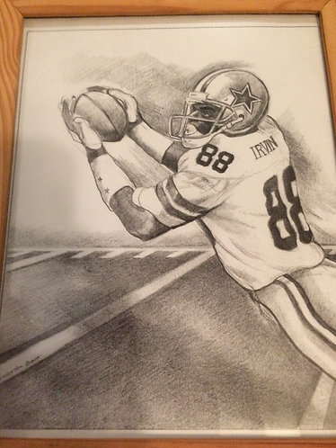 Michael Irvin 8x10 pencil sketch by Tom Araco