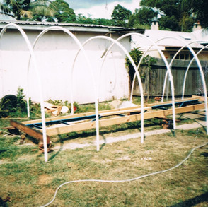 Side view of frame. Notice the PVC pipe weather enclosure frame.