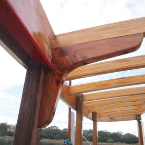New deckhead beams installed showing new north coast mahogany knees, all finished with Bote-Cote then Aquacote