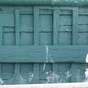 Close up of interior Planking & ribs showing 70 odd years of paint and other gunk